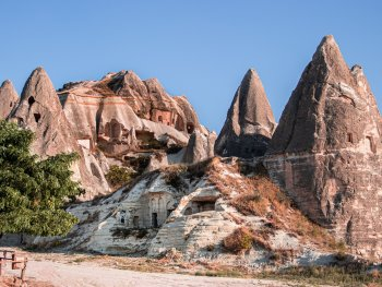 dwellings carved into mountains